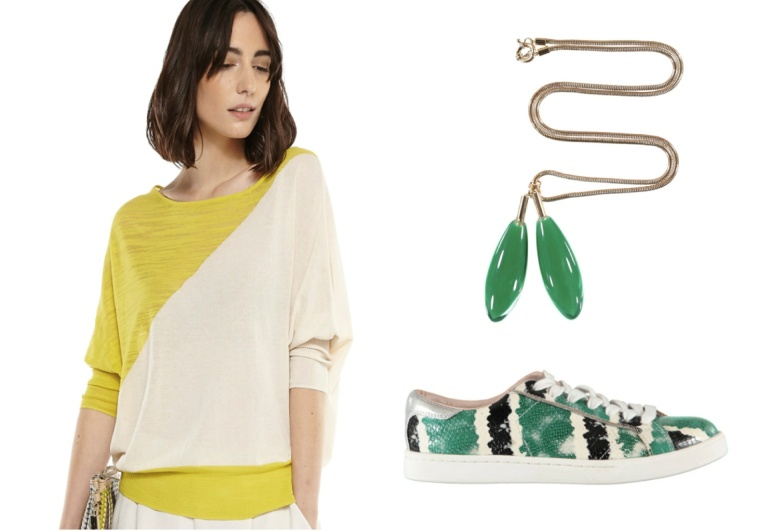 Eternal-Optimist-SS16-Trend-InStyle-Essentiel-Antwerp-Sweater-Necklace-Sneaker-Python-Print-Yellow-Green-Color-Block