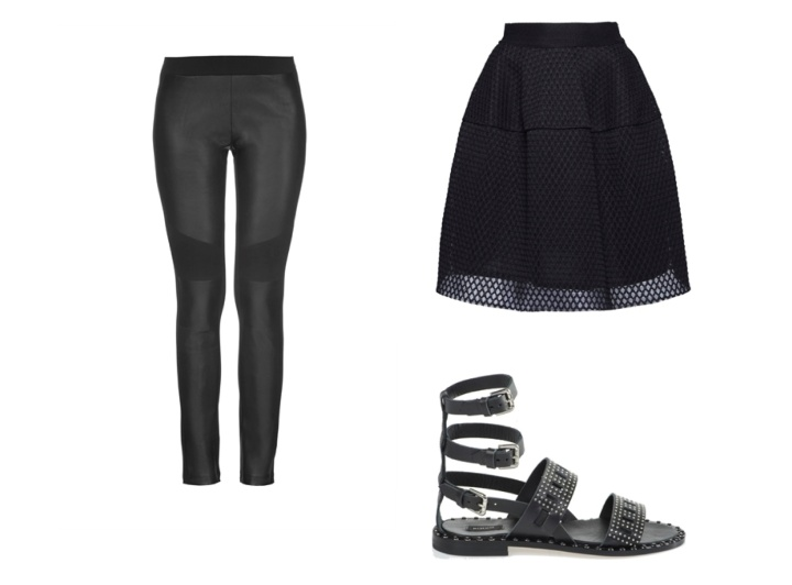 Cyber-Punk-InStyle-SS16-Trend-Spring-Summer-Leather-Jacket-Pants-Legging-Pinko-Italian-Brand-Fishnet-Sandals-Skirt-Black