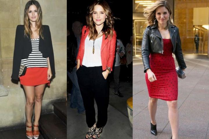 Rachel-Bilson-Striped-Tee-Sophia-Bush-Perfecto-Leather-Jacket-Dress-Black-Red-Team-Belgique-Belchique-O'Ren-Sweater-Belgian-Brand-Show-Your-Colors-Art-Go-Belgium-Euro-2016-Style-Icon