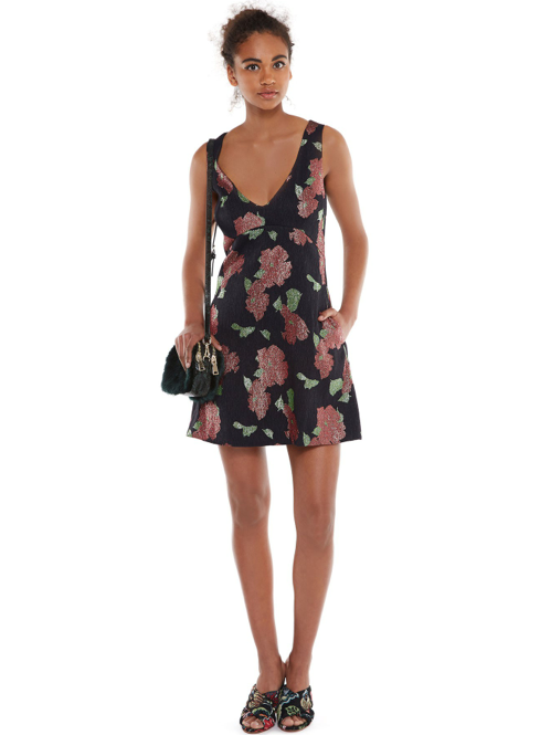 Wishlist-Special-Belgium-Belgian-Brand-Essentiel-Antwerp-floral-jacquard-v-neck-mini-dress-mistake-shiny-roses-a-line