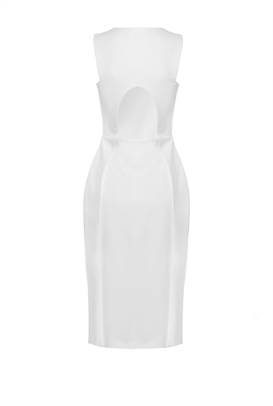 White-Wishlist-Dress-Pinko-Business-Meeting-Work-Appropriate-Back-View-Italian-Brand