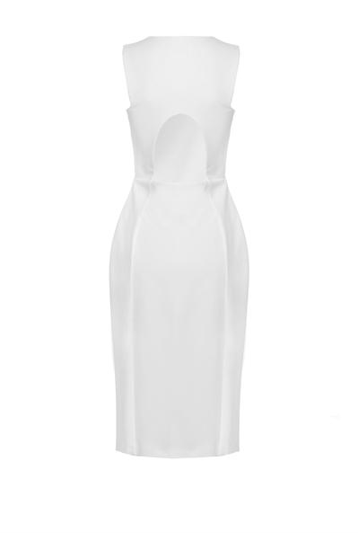 White-Wishlist-Dress-Pinko-Business-Meeting-Work-Appropriate-Back-View-Italian-Brand