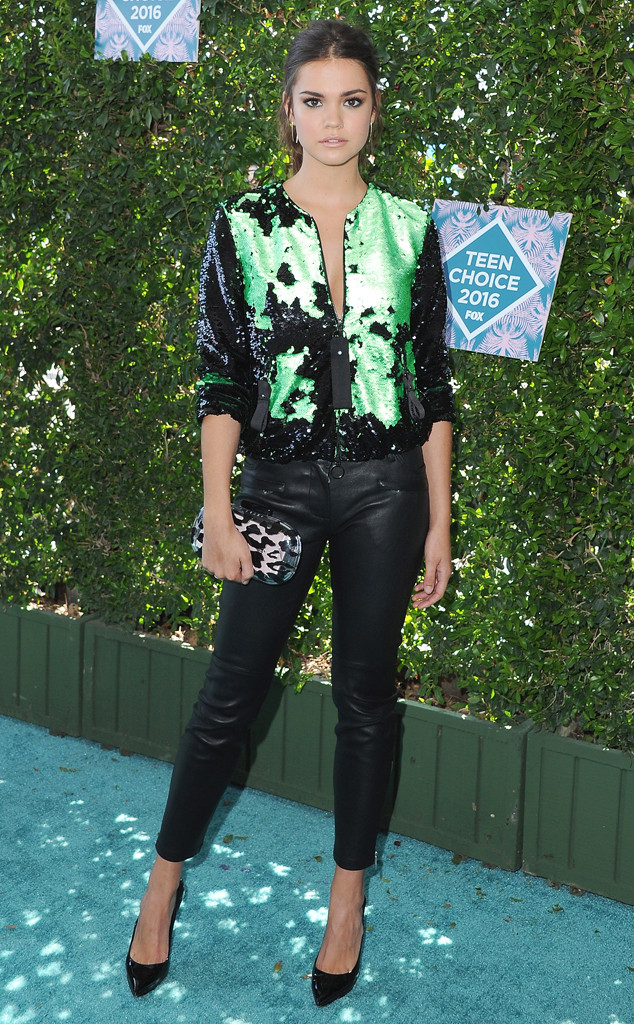 TCA-2016-Teen-Choice-Awards-Red-Carpet-Looks-My-Top-10-maia-mitchell-giorgiarmani-green-black-leather-pants