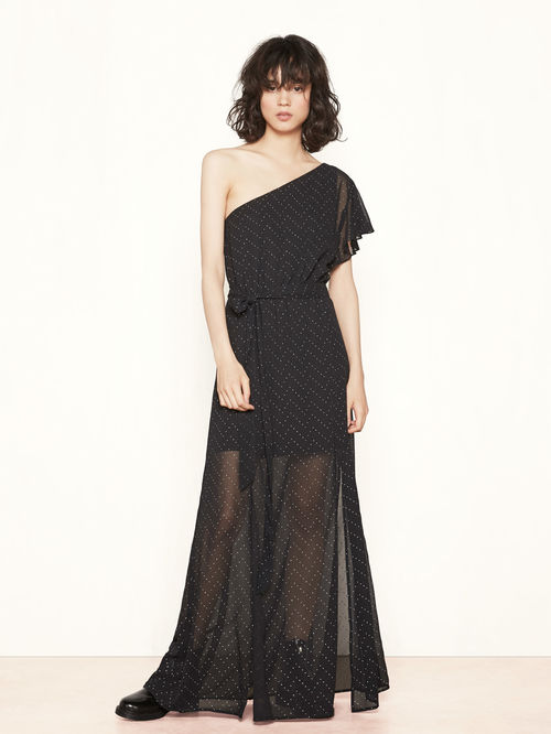 festive-season-outfit-black-asymmetrical-studs-realla-long-maxi-dress-holidays-christmas-new-year-eve-belgian-brand-maje