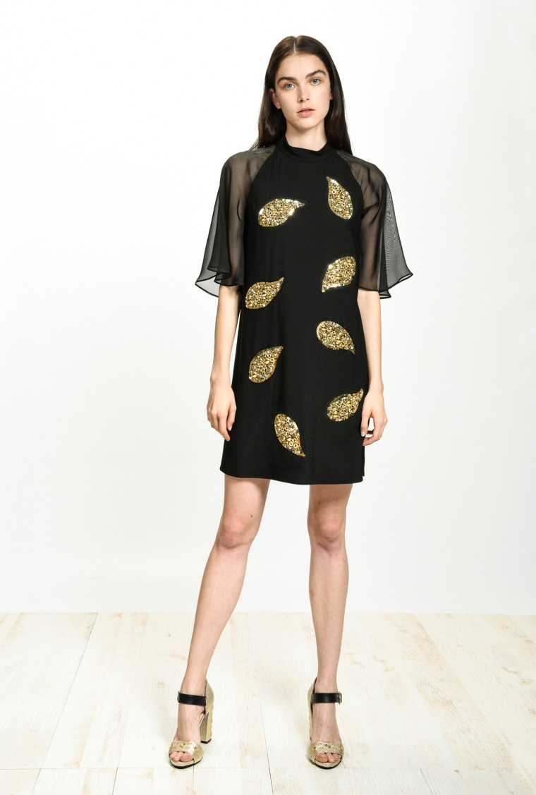 festive-season-outfit-black-short-mini-elegant-sable-stretch-gold-feathers-sequined-paillettes-dress-holidays-christmas-new-year-eve-belgian-brand-italian-pinko