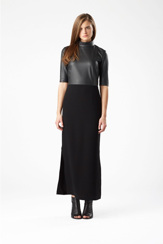 festive-season-outfit-geisha-black-leather-long-maxi-dress-holidays-christmas-new-year-eve-belgian-brand-julia-june