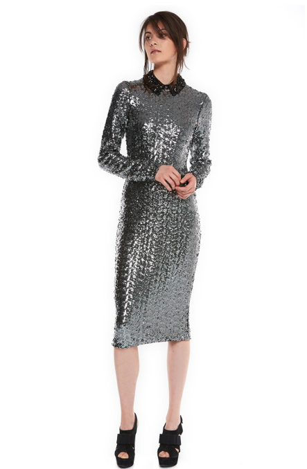 festive-season-outfit-silver-sequined-midi-march-dress-holidays-christmas-new-year-eve-belgian-brand-essentiel-antwerp