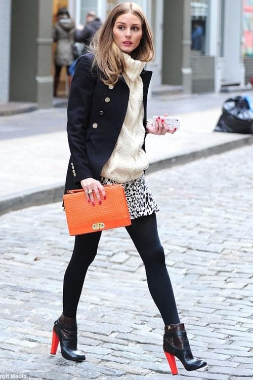 how-to-dress-work-appropriately-pinterest-sweater-weather-skirt-tights-long-coat-warm-cosy-fashion-blogger-stylish-skirt-black-tight-orange-chunky-heels-olivia-palermo